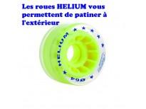 Jeu de 8 roues Roll line Hélium translucide & jaune